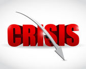 Word crisis and a falling arrow illustration — Stock Photo