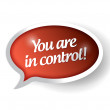 You are in control red message bubble illustration — Stock Photo
