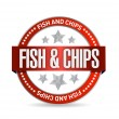 Fish and chips seal illustration design — Stock Photo