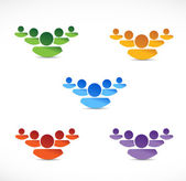Set of different color people teams. illustration — Stock Photo