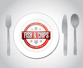 Fish and chips restaurant concept illustration — Stock Photo