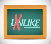Unlike to like message on a chalkboard — Stock Photo