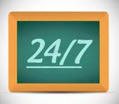 24 7 message on a chalkboard illustration — Stock Photo
