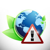 Globe leaves and warning sign illustration design — Stock Photo