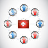 Medical first kit people network illustration — Stock Photo