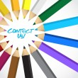 Contact us message around a set of colors — Stock Photo
