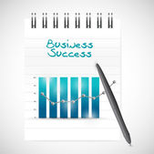 Business graph success and notepad illustration — Stock Photo