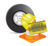 Vehicle under construction sign illustration — Stockfoto