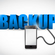 Backup sign connected to smartphone. — Stock Photo #34791619