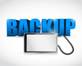 Backup sign connected to a tablet. illustration — Stock Photo