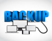 Backup sign connected to electronics. illustration — Stock Photo