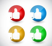 Thumbs up buttons seals illustration design — ストック写真