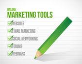 Ilustración de la marca de verificación de herramientas de marketing online — Foto de Stock
