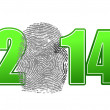 2014 and finger print illustration design — Stock Photo