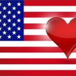 The heart of the US. usa flag and heart. — Stock Photo