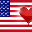 The heart of the US. usa flag and heart. — Stock Photo #34963503
