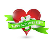 Happy mothers day heart and flowers ribbon sign — Stok fotoğraf