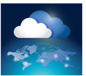 Cloud computing network connection diagram — Stock Photo