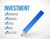 Investment check list illustration design — Stock Photo