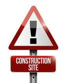 Baustelle, straße zeichen abbildung warnung — Stockfoto