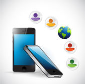Smartphone social mead management network — Stock Photo