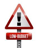 Low budget warning road sign illustration design — Stock Photo