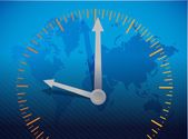 Clock over a world map illustration design — Stock Photo