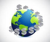 Globe and dollar symbols illustration design — Stock Photo