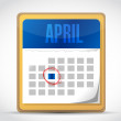 April calendar illustration design — Stockfoto
