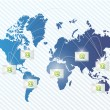 World map and email communication concept — Stock Photo
