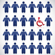 Handicap in the middle of a set of people — Stock Photo