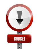 Budget going down road sign illustration — Stock Photo