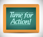 Time for action written on a blackboard. — Stockfoto