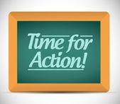 Time for action written on a blackboard. — Zdjęcie stockowe
