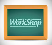 Workshop written on a blackboard. illustration — Stock Photo
