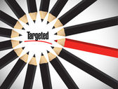 Targeted sign around a set of pencils. — Stock Photo