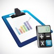 Business graph on a clipboard and calculator — Stock Photo #36210855