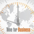 Time for business world map illustration design — 图库照片