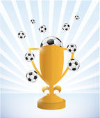 Soccer trophy and balls illustration design — Stock Photo