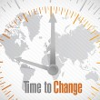 Time to change world map illustration design — Stockfoto