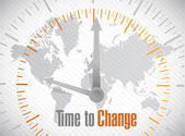 Time to change world map illustration design — Stock Photo
