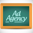 Ad agency message written on a blackboard — Stock Photo