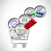 Shopping cart commerce concept illustration — Stock Photo
