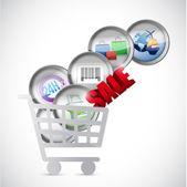 Shopping cart commerce concept illustration — Stock Photo