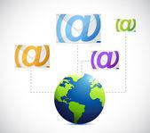 Globe email communication concept illustration — Zdjęcie stockowe