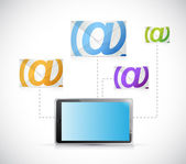 Tablet email communication concept illustration — Zdjęcie stockowe