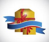 Gift box and ribbon illustration design — Stock Photo