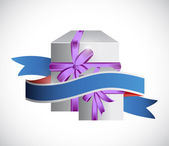 Gift box and ribbon illustration design — Stock Photo