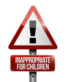 Inappropriate for children warning sign — Foto Stock