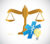 Balance law medical light bulb illustration design — Stock Photo